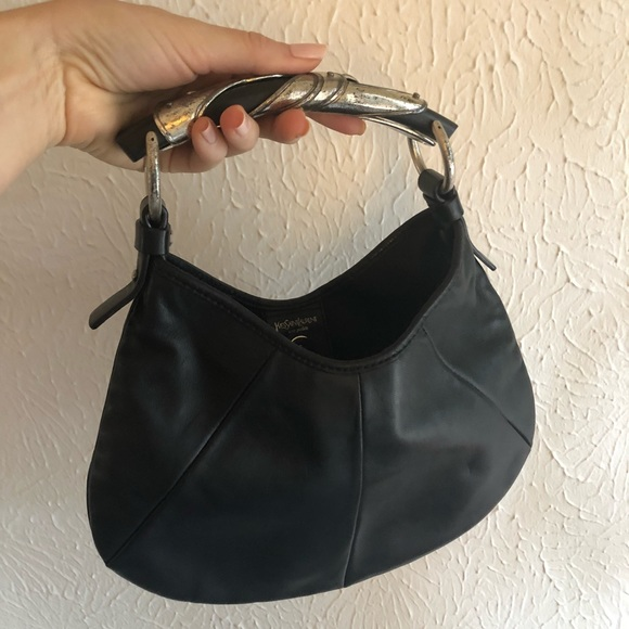 b28a734337 Yves Saint Laurent Small Black Leather Mombasa Bag.  M 5be6d5635bbb80cad977260a